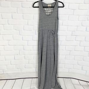 Chaser Gray Maxi Dress Net Back Tie Waist I XS